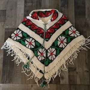 Vintage Hand Knit Floral Cape